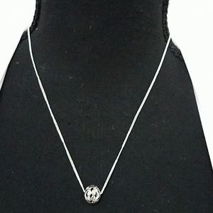 Hollow Silver Ball Necklace